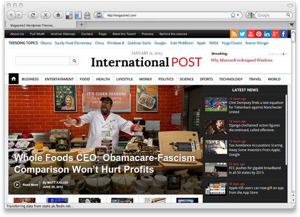 InternationalPost WORDPRESS THEME BY MAGAZINE3